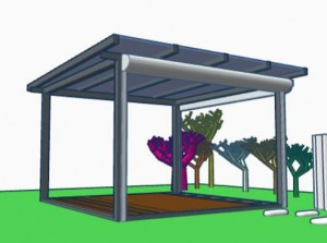 Der Pavillon: Einzigartige Glasüberdachung mit seitlichen Rollläden